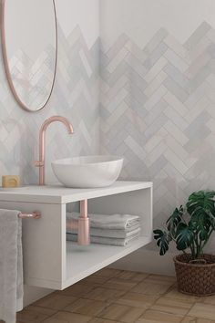 """Saratoga features a 2.5""""x8"""" zellige-inspired subway tile in six glossy, soft colors that add color and brightness to any interior space. Bathroom Design Inspiration, Home Decor Inspiration, Tiles Direct, Tiles Online, White Bodies, Subway Tile, Soft Colors, Wall Tiles, Ceramics"""
