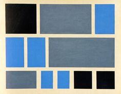 archiveofaffinities: Vera Molnar, 3 Black Squares, 3 Gray Rectangles, 5 Blue Rectangles, 1950