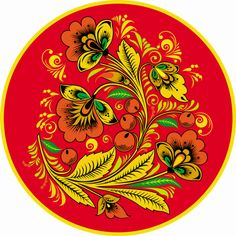 Folk Khokhloma painting from Russia. A round floral pattern in red, yellow…
