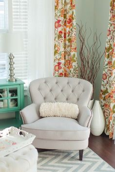 Sources Paint Color - Sea Salt by Sherwin-Williams Chairs - http://Overstock.com Curtains - World Market