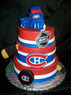 Montreal Canadiens - 3 tier cake with fondant stripes and hand painted logos. The hockey stick is gumpaste, puck is melting wafers and the gloves were purchased for the birthday boy to keep. Hockey Birthday Cake, Hockey Birthday Parties, New Birthday Cake, Hockey Party, Hockey Puck, Birthday Stuff, 10th Birthday, Fancy Cakes, Cute Cakes