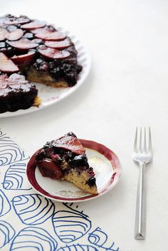 plum & blueberry upside down cake