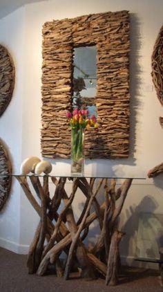 driftwood table...beautiful http://www.pinterest.com/eirini50/driftwood-found-objects-art/ and mirror