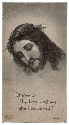 Jesus and Crown of Thorns  - Vintage Holy Card