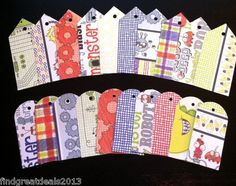 (For sale) Idea: use the heavier scrapbook paper to make tags w/room to write. Could print on that paper if trimmed to printer size.