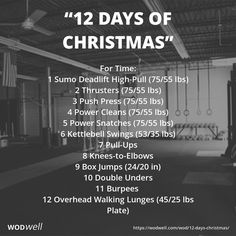 """""""12 Days of Christmas"""" WOD - For Time: 1 Sumo Deadlift High-Pull (75/55 lbs); 2 Thrusters (75/55 lbs); 3 Push Press (75/55 lbs); 4 Power Cleans (75/55 lbs); 5 Power Snatches (75/55 lbs); 6 Kettlebell Swings (53/35 lbs); 7 Pull-Ups; 8 Knees-to-Elbows; 9 Box Jumps (24/20 in); 10 Double Unders; 11 Burpees; 12 Overhead Walking Lunges (45/25 lbs Plate)"""