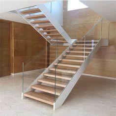 Online Shop Foshan factory tempered glass wood u shape stairs, house staircase design Staircase Glass Design, Steel Stairs Design, Staircase Design Modern, Stair Railing Design, Home Stairs Design, Modern Stairs, Interior Stairs, Glass Stair Railing, Railings