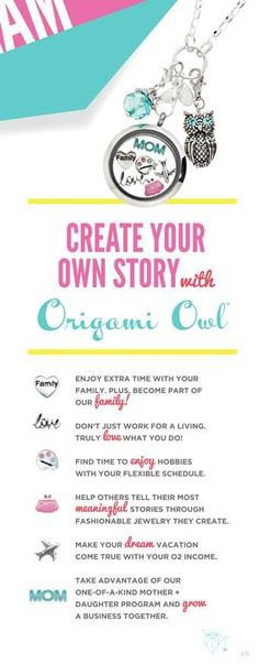 Create your story with Origami Owl ! Visit Ashley @ www.asaylor.origamiowl.com To Book you a Party Online or Join her FB Page @  The Owl Shack
