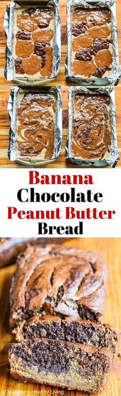Gluten-Free Banana Chocolate Peanut Butter Quick Bread - perfect for breakfast or as a healthy snack ~ http://jeanetteshealthyliving.com