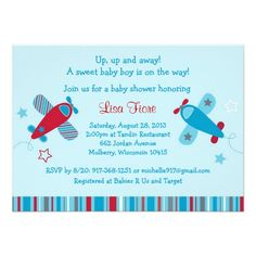 Baby Boy Airplane Baby Shower Invitations