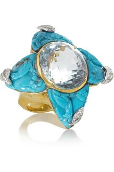 Lydia Courteille carved turquoise and faceted 30.50-carat aquamarine star ring. This handcrafted 18-karat gold design glitters with 0.20-carats of pavé diamonds.