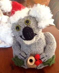 Christmas Koala - Knitted Tea Cosy from the Marianne Collection.