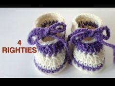 Crochet Easy Baby Slippers (4 RIGHTIES) - YouTube
