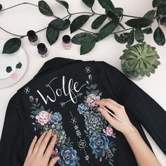 "4,921 Likes, 166 Comments - Green Wedding Shoes / Jen (@greenweddingshoes) on Instagram: ""This hand painted leather jacket by @wolfandrosie is pretty killer, right?!? Perfect for your…"""