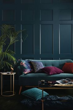 Primark just dropped the first look at their S/S homeware range and were ready for summer now Dark Living Rooms, Living Room Green, My Living Room, Jewel Tone Room, Jewel Tone Decor, Jewel Tones, Jewel Tone Living Room Decor, Casa Milano, Dark Interiors