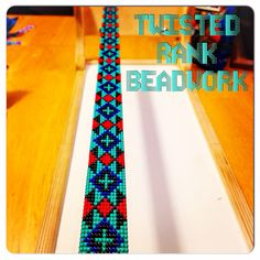 Custom beaded tribal pattern headband - Be sure to check out Twisted Rank Beadwork on Facebook! Bead Crochet Patterns, Seed Bead Patterns, Beading Patterns, Beaded Belts, Beaded Hat Bands, Loom Bracelet Patterns, Bead Loom Bracelets, Loom Hats, Bead Loom Designs