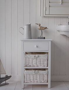 The New Haven Bathroom Storage Free Standing Cabinet With 2 Basket Drawers  And A Wooden Drawer