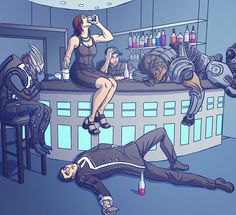 "ME art,фэндомы,ME персонажи,Femshep,Commander Shepard,Garrus,Jeff ""Joker"" Moreau,Grunt,Kaidan,N7 day"