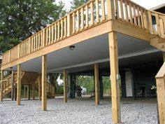 Taking the time to finish off the underside of a high deck gives you a usable outdoor space even when it rains.