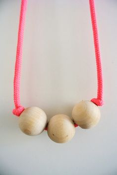 Neon shoelace + wooden beads = simple DIY necklace
