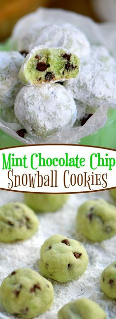 Melt in your mouth Mint Chocolate Chip Snowball Cookies are a treat you wont be able to resist! So easy to make and packed with mint and chocolate flavor - no one can eat just one! Perfect for St. Patricks Day Easter Christmas and more! // Mom On Timeout Mini Desserts, Cookie Desserts, Cookie Recipes, Delicious Desserts, Dessert Recipes, Yummy Food, Brownie Recipes, Xmas Cookies, Yummy Cookies
