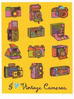 Vintage Cameras ScreenPrint van boyounillo op Etsy