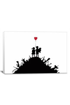 Banksy Kids on Guns Hill 18in x 12in Canvas Print