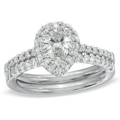 1-1/6 CT. T.W. Pear-Shaped Diamond Frame Bridal Set in 14K White Gold