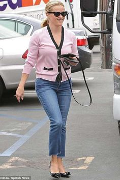 73d3d2e04d093d Reese Witherspoon wearing Draper James Crop Flare Denim in Medium Wash