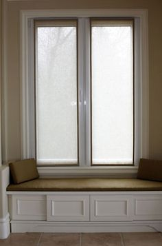 Linen panels with bench seat with storage