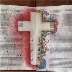 """Bible Journaling: John 19:30 (""""It is finished"""") and John 21:7 (Peter sees the resurrected Jesus: """"It is the Lord!"""") Left: Distress Ink, Micron pen, and acrylic paint. Right: Micron pen, colored pencil. Pages prepped with Gesso. Art inspired by other pins."""