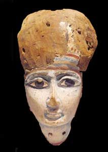 """Egyptian painted wooden mask - X.0301 Origin: Egypt Circa: 7 th Century BC to 5 th Century BC  Dimensions: 10.5"""" (26.7cm) high  Collection: Egyptian Medium: Wood"""