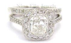 1.95CT CUSHION CUT ANTIQUE STYLE DIAMOND ENGAGEMENT RING & BAND WEDDING SET