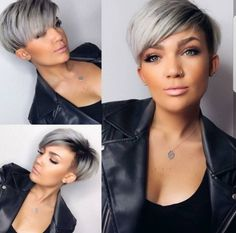 Pixie haircut is really appealing and perfect idea for ladies who want to change their looks completely. So today I will show you the latest pixie haircut. Short Grey Hair, Short Straight Hair, Short Hair Cuts, Thick Hair, Wavy Hair, Pixie Hairstyles, Straight Hairstyles, Hairstyles 2018, Long Haircuts
