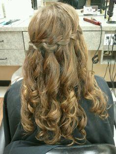 Homecoming hair. Waterfall braid