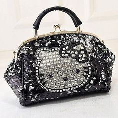 31761bfca Details about Hello Kitty Rhinestone Crocodile Pattern Black Leather  Shoulder Tote Handbag