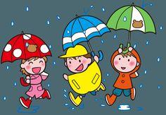 雨の中の楽しそうな3人のイラスト素材
