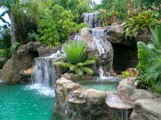 Yes, fish in cave, hot tub next Rock Waterfall, Garden Waterfall, Artificial Rocks, Diy Garden Fountains, Backyard Water Feature, Dream Pools, Beautiful Waterfalls, Cool Pools, Pool Designs