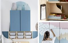 A collage of IVAR cabinets being used as storage for games, a secret doll's house and a teen's vanity