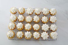 Martha Stewart's Passion Fruit-Filled Cupcakes feature homemade fruit curd topped with buttercream frosting.