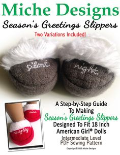 "SEASON'S GREETINGS SLIPPERS 18"" DOLL SHOES"