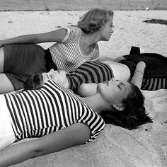 1950s striped beach fashion, photo by Nina Leen from the LIFE picture Collection