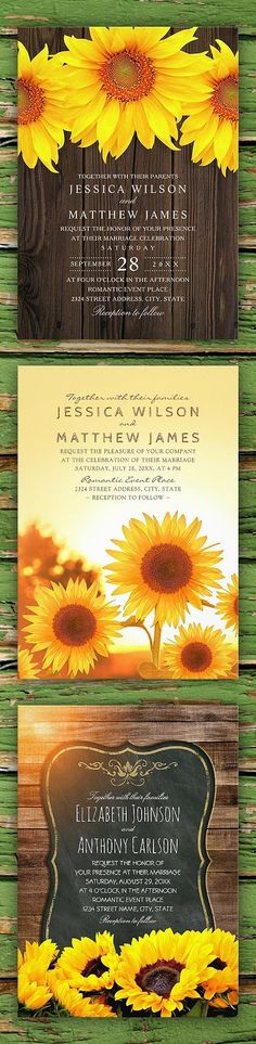 25 best Sunflower wedding invitations ideas on Zazzle. Here is a collection of the best 25 sunflower wedding invitations that are featured on zazzle there you can choose from thousands of personalized rustic country wedding invitations. Choose from various types of premium papers to print your invitations on. These high quality wedding invitations include white envelopes. Plus you can make other types of customization depending on the invitation's design.  #weddinginvitations…