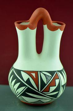 Authentic Wedding Vase Pottery Acoma.  Native American Wedding Vase.