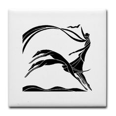Art Deco Woman Tile Coaster by CircleBDesigns - CafePress Greyhound Art, Greyhound Tattoo, Art Deco Tattoo, Hounds Of Love, Concept Art Tutorial, Art Deco Illustration, Mobile Art, Girl And Dog, Dog Tattoos