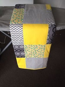 Yellow and Grey Patchwork cot quilt. Great addition to the baby room. Love this!