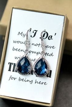 Navy blue,sapphire blue Wedding Jewelry Bridesmaid Gift Bridesmaid Jewelry Bridal Jewelry tear Earrings & necklace SET,bridesmaid gift on Etsy, $29.99