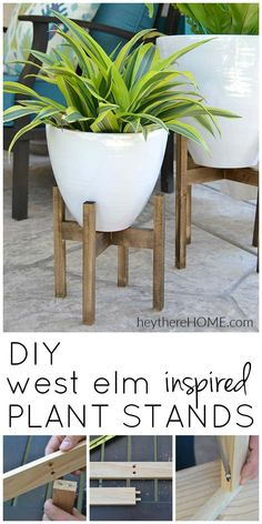 DIY Wooden Plant Stand Tutorial : Amazing DIY plant stands on a budget! A West Elm Knock-off almost anyone can make! via DIY Wooden Plant Stand Tutorial : Amazing DIY plant stands on a budget! A West Elm Knock-off almost anyone can make! West Elm, Diy Simple, Easy Diy, Begonia, Diy Plant Stand, Wooden Flowers, Diy Flowers, Patio Makeover, Diy Holz