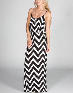 NEBLINA Ruffle Chevron Maxi Dress