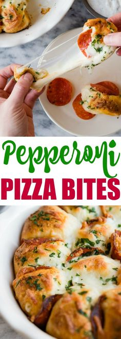Pepperoni Pizza Bites Skip the pizza delivery! Enjoy these easy, cheesy pepperoni Pizza Bites hot and fresh from the oven. You'll want to double the batch! Pepperoni Pizza Bites Recipe, Pizza Appetizers, Appetizer Recipes, Dinner Recipes, Pepperoni Bread, Shower Appetizers, Drink Recipes, Dinner Ideas, Pizza Recipes